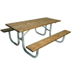 This Picnic Table Is Constructed Of Tubular Legs And - Tubular picnic table frame