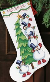 Cross Stitch Christmas Stocking Kit, Needlepoint, Trimming the Tree Stocking