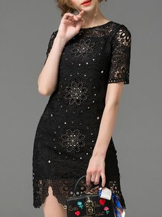 Buy it now. Black Crochet Hollow Out Beading Dress. Black Round Neck Short Sleeve Polyester Shift Short Fabric has no stretch Summer Elegant Day Dresses. , vestidoinformal, casual, camiseta, playeros, informales, túnica, estilocamiseta, camisola, vestidodealgodón, vestidosdealgodón, verano, informal, playa, playero, capa, capas, vestidobabydoll, camisole, túnica, shift, pleat, pleated, drape, t-shape, daisy, foldedshoulder, summer, loosefit, tunictop, swing, day, offtheshoulder, smock, pr...
