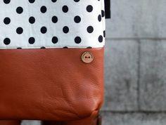 polka dot and caramel leather tote bag // white and black polka dot tote // leather tote by rouge and whimsy. $60.00, via Etsy.