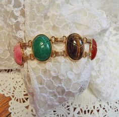 Warm Autumn Colors are on their Way by Marg on Etsy Gold Jewelry, Vintage Jewelry, Handmade Jewelry, Unique Vintage, Vintage Items, Scarab Bracelet, Egyptian Scarab, Team Gifts, Warm Autumn