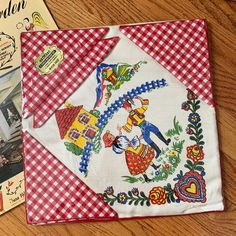 """Excited to share this item from my #etsy shop: Vintage Table Linen Set, Artmart 5 Pc Bridge Set for Card Table NOS, 34"""" Square Linen Tablecloth and 4 Gingham Napkins Vintage Table Linens, 1960s Kitchen, Linen Tablecloth, Table Cards, Etsy Shipping, All Sale, Vintage Children, Gingham, Bridge"""