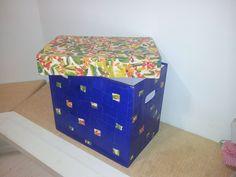 Organizador com tampa - caixa de papelão, papietagem e papel colorido picado (2).