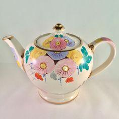 Cheerful vintage hand painted tea pot, Sadler, 1950s
