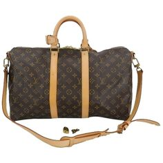 Pre-owned Louis Vuitton Keepall 45 Bandouliere Travel Satchel Duffle... ($1,300) ❤ liked on Polyvore