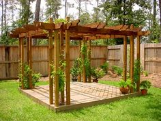 The pergola kits are the easiest and quickest way to build a garden pergola. There are lots of do it yourself pergola kits available to you so that anyone could easily put them together to construct a new structure at their backyard. Cheap Pergola, Outdoor Pergola, Backyard Pergola, Pergola Plans, Backyard Landscaping, Pergola Ideas, Arbor Ideas, Deck Trellis Ideas, Patio Trellis