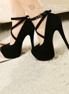 ファッションスティレットヒールハイプラットフォームブラックスエードアッパー靴