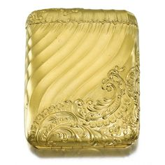 A FABERGÉ GOLD CIGARETTE CASE, WORKMASTER MICHAEL PERCHIN, ST PETERSBURG, CIRCA 1890 in rococo taste, cast and chased with matte texture swirling bands within raised rocaille foliage, opening in two halves by means of a slight depression below the lid, struck with workmaster's initials and Fabergé in Cyrillic, scratched twice with inventory number 40168, 56 standard