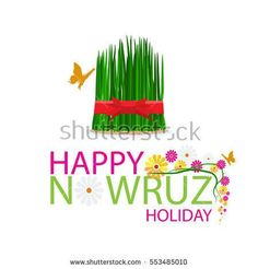 Nowruz holiday grass semeni on plate with red ribbon. Frame with green grass and leaf. Happy New Year Typography, Flat Color, Red Ribbon, Green Grass, Royalty Free Stock Photos, Plates, Frame, Clinic, Holiday
