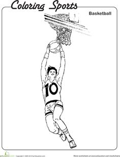 basketball player coloring page worksheets