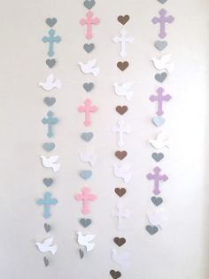 Christening Cross and Dove Garland - Baptism Backdrop decorations - First Communion Garland - Baby Dedication Decor - Your Color choice Baptism Centerpieces, Baptism Decorations, Backdrop Decorations, Heart Decorations, Backdrops, Communion Decorations, Christmas Decorations, Baby Girl Baptism, Baptism Party