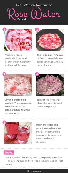 Homemade Natural Rose Water Here we are going to know about 2 best methods of preparing rose water at home. #Natural #RoseWater #SkinCare #BeautyRecipes #DIYRemedies