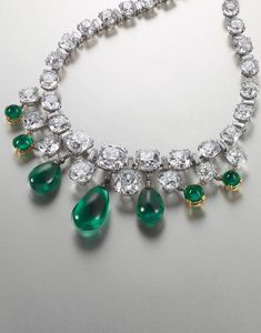 necklace, valued at $3 million-$5,000,000 million, consists of eight emeralds set with old European and cushion cut diamonds, each weighing 10 cts.