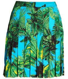 VERSACE H ICONIC BLUE PRINT PLEATED SILK PARTY SKIRT