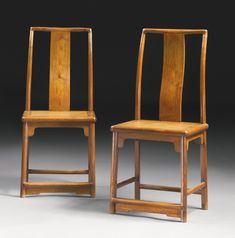A pair of huanghuali continuous-back small side chairs (Yitongbei), Qing dynasty, 18th century