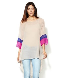 Crepe Colorblock Sleeve Blouse by Isabel Lu at Gilt