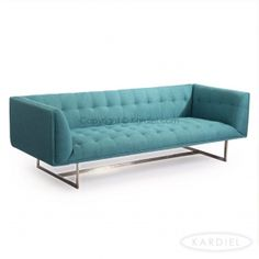 Edward Mid-Century Modern Classic Sofa, Dutch Blue Houndstooth Twill/Stainless Steel |