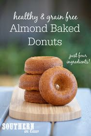 Easy Four Ingredient Grain Free Baked Donuts Recipe   healthy, low fat, gluten free, no butter, no oil, clean eating friendly, refined sugar free, dairy free, low calorie