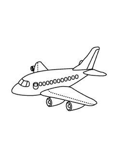 Plane coloring page for kids, printable free