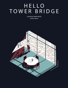 Illustrations by Tom HaugomatPosters for the South Bank Hotel in London.