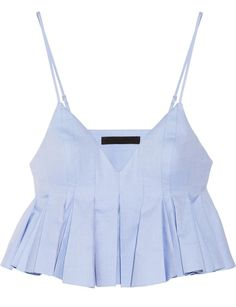 In luv with Alexander Wang Cropped pleated cotton top Pleated Shirt, Crop Shirt, Alexander Wang, Summer Outfits, Cute Outfits, Blue Crop Tops, Cropped Tops, Mode Top, Sleeveless Crop Top