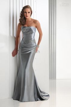 Ruched silver satin dress with bling