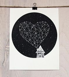 Star Heart Constellation Art Print