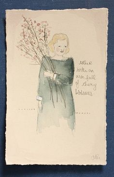 esther with an arm full of cherry blossoms by amanda blake art, via Flickr