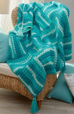 Wavy Squares Easy Crochet Blanket