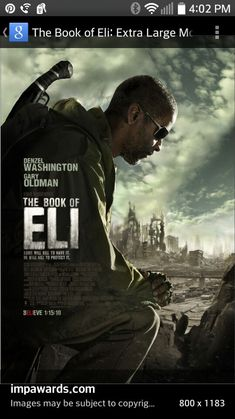 The book of Eli must see movie im going to also try to read it if its a book