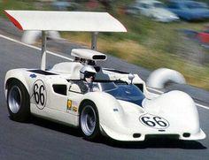 Jim Hall racing his Chaparral 2G3 at Laguna Seca in 1968