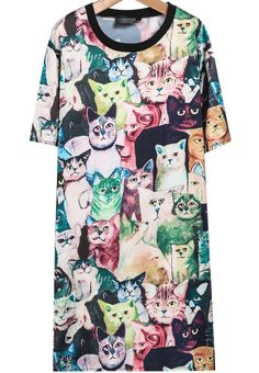 Black Short Sleeve Cats Print Dress - Sheinside.com