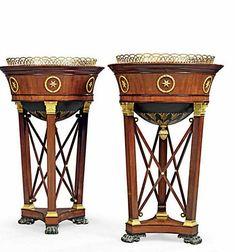 Pair of Empire Ormolu-Mounted Mahogany Jardiniers after a Percier design. Attributed to Desmalter. Circa 1810.