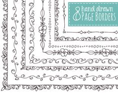 8 Page Borders - Hand Drawn // Frames // Doodle // Decorative Design Elements // Picture Text Photo Frame // Vector // Commercial Use