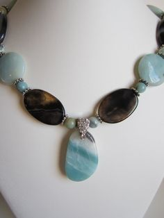 Spring Amazonite and Black Agate necklace free pair of by yasmi65, $32.00
