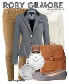 """""""Gilmore Girls"""" by wearwhatyouwatch ❤ liked on Polyvore featuring Dsquared2, Forever New, Armani Jeans, Forever 21, Topshop, Blue Nile, H&M, television and wearwhatyouwatch"""