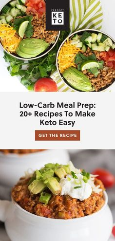 Don't know what to cook on keto? This low-carb meal prep plan has 20+ recipes for breakfast, lunch, dinner, and dessert. Eating keto has never been easier! | #keto #KetoLifestyle #WeightLoss #FatLoss #Health #Healthy #HealthyLiving #HealthyLifestyle Breakfast Lunch Dinner, Keto Dinner, Breakfast Recipes, Dinner Recipes, Meal Prep Plans, Low Carb Recipes, Freezer Recipes, Food Inspiration, Food To Make
