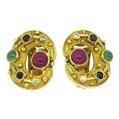 Ilias Lalaounis Multi Gemstone Diamond Gold Earrings