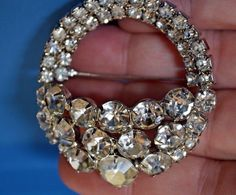 VINTAGE Huge Clear Ice Rhinestone WEISS Brooch Pin Tiered Layered Vogue Jewelry…