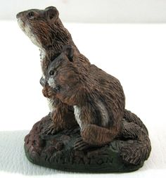 Vtg Neal Deaton Chipmunks Figurine Wildlife Bronze Menagerie Sculpture USA Cast