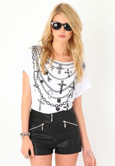 Chain Print Tee & Black Leather Shorts