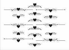 Decorative heart delimiter separator element set Royalty Free Stock Image