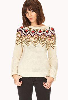 Beige Nude Tribal Pattern print Fair Isle Sweater | FOREVER21 - 2000073770 $17