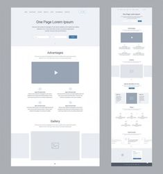 One Page Website Design Template Business Landing Page Wireframe Flat Wireframe Design, Design Ios, Page Design, Website Layout Template, Web Layout, Ui Website, One Page Website, Web Design Examples, Web Design Trends
