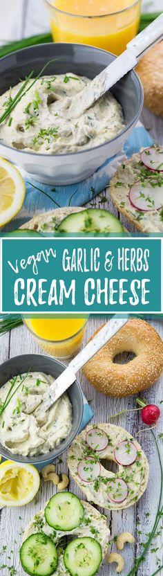 Kiss your dairy products goodbye and say hello to this delicious vegan cream cheese with garlic and fresh herbs. It's incredibly creamy and easy to make! | veganheaven.org