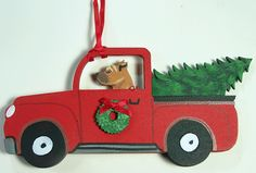 STAFFORDSHIRE PIT BULL TERRIER DOG WOODEN USA RED TRUCK CHRISTMAS TREE ORNAMENT