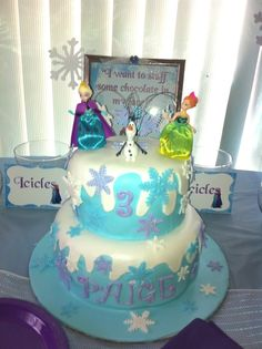 Amazing cake at Frozen girl birthday party!  See more party ideas at CatchMyParty.com!
