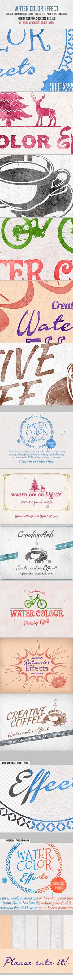 #WaterColor Effects - #Text Effects #Actions #PSAction #Photoshop #PS #Graphicriver #Design #TextEffects