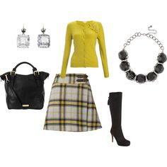 Yellow and black plaid.