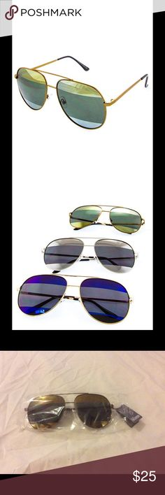 ☄JUST IN Two Toned Striped Aviator Sunglasses Feel fresh with these fashionable new two toned striped lenses fully rimmed with a metal aviator frame including metal nose bridge and high fashion metal rebar above the nose bridge for great style! Unisex Fashion Sunglasses UV400 Protection Assorted Colors Great Quality Polycarbonate LensOne Size Fits Mos Boutique Accessories Glasses